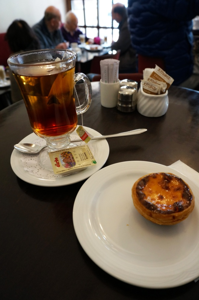 The perfect pairing: freshly baked egg tart and a cup of hot tea