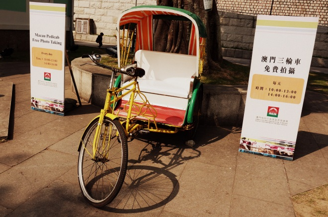 Pedicabs used to be the primary mode of transport around Macau Peninsula. Some can still be seen waiting for passengers around the Outer Harbour Ferry Terminal and Hotel Lisboa.