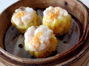 Steamed shrimp and pork dumpling with abalone